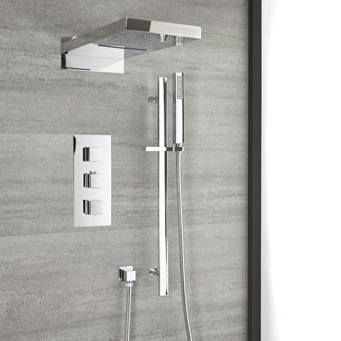 Milano Arvo - Chrome Thermostatic Shower with Diverter, Waterblade Shower Head and Riser Rail with Hand Shower (3 Outlet)
