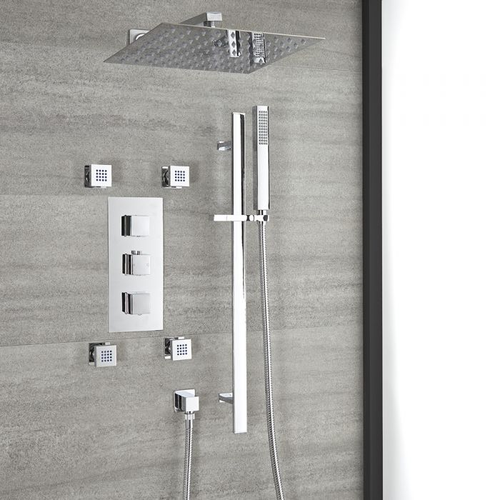Milano Arvo - Chrome Thermostatic Shower with Diverter, Shower Head, Body Jets and Riser Rail with Hand Shower (3 Outlet)