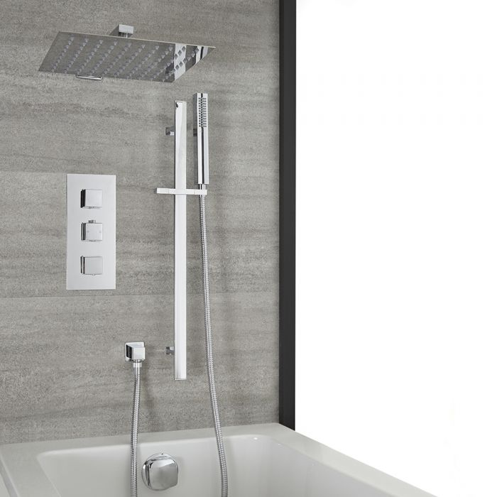 Milano Arvo - Chrome Thermostatic Shower with Diverter, Overflow Bath Filler, Shower Head, and Riser Rail with Hand Shower (3 Outlet)
