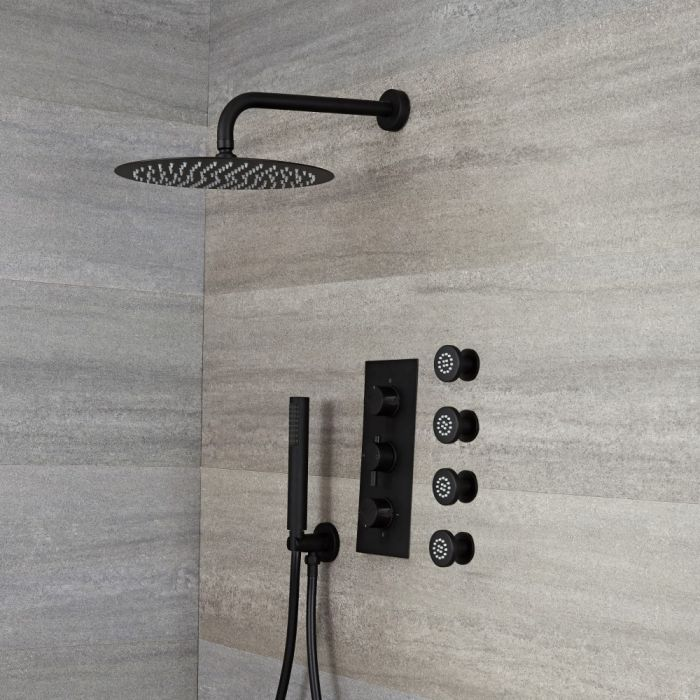 Milano Nero - Black Thermostatic Shower with Diverter, Round Shower Head, Hand Shower and Body Jets (3 Outlet)