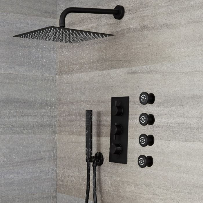 Milano Nero - Black Thermostatic Shower with Diverter, Square Shower Head, Hand Shower and Body Jets (3 Outlet)