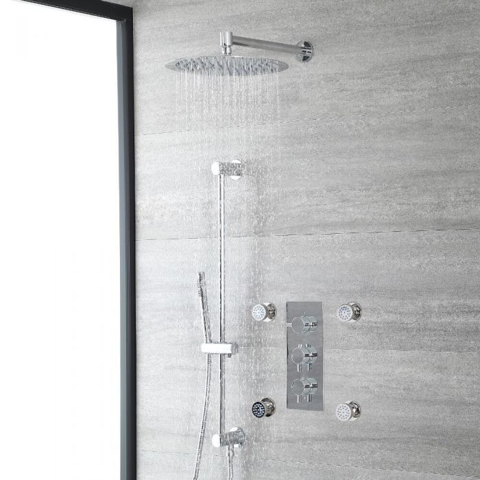 Milano Mirage - Chrome Thermostatic Shower with Diverter, Wall Mounted Shower Head, Hand Shower, Body Jets and Riser Rail (3 Outlet)