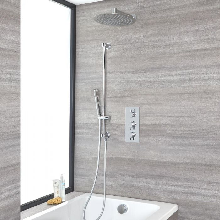Milano Mirage - Chrome Thermostatic Shower with Diverter, Shower Head, Hand Shower, Bath Filler and Riser Rail (3 Outlet)