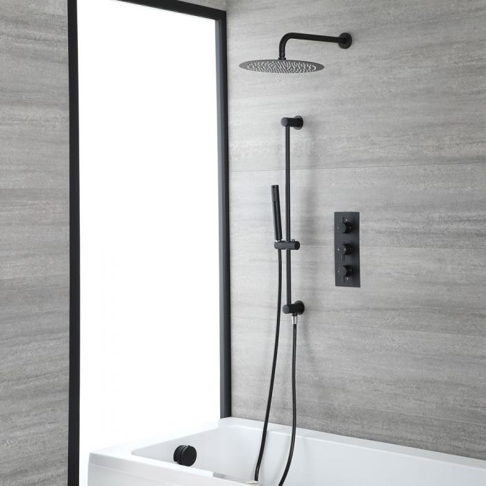 Milano Nero - Black Thermostatic Shower with Shower Head, Overflow Bath Filler and Riser Rail with Hand Shower (3 Outlet)