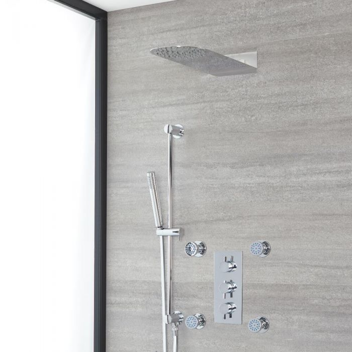 Milano Mirage - Chrome Thermostatic Shower with Diverter, Slim Shower Head, Hand Shower, Body Jets and Riser Rail (3 Outlet)