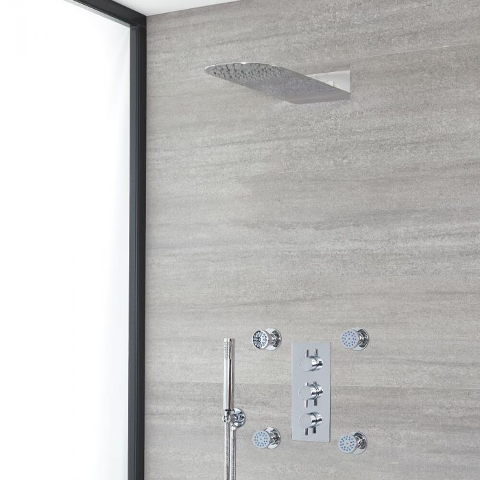Milano Mirage - Chrome Thermostatic Shower with Diverter, Waterblade Shower Head and Hand Shower (3 Outlet)