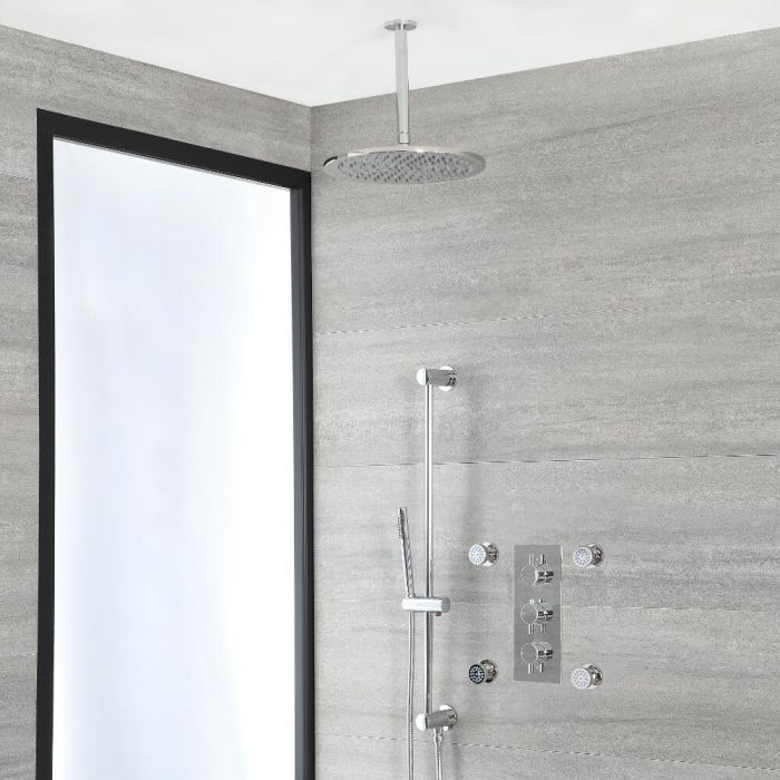Milano Mirage - Chrome Thermostatic Shower with Diverter, Ceiling Mounted Shower Head, Hand Shower, Body Jets and Riser Rail (3 Outlet)