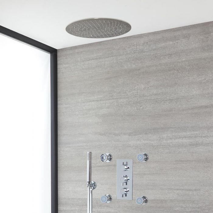 Milano Mirage - Chrome Thermostatic Shower with Diverter, Recessed Shower Head, Hand Shower and Body Jets (3 Outlet)