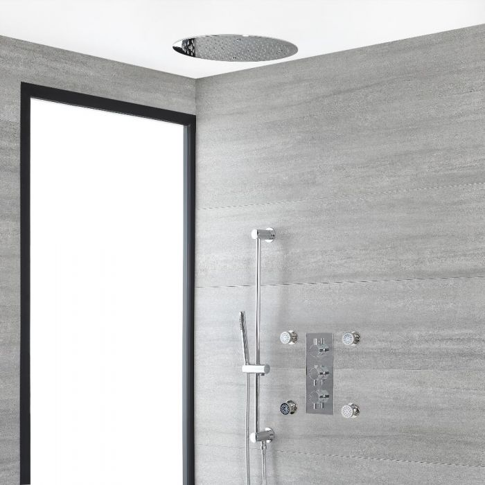 Milano Mirage - Chrome Thermostatic Shower with Diverter, Recessed Shower Head, Hand Shower, Riser Rail and Body Jets (3 Outlet)