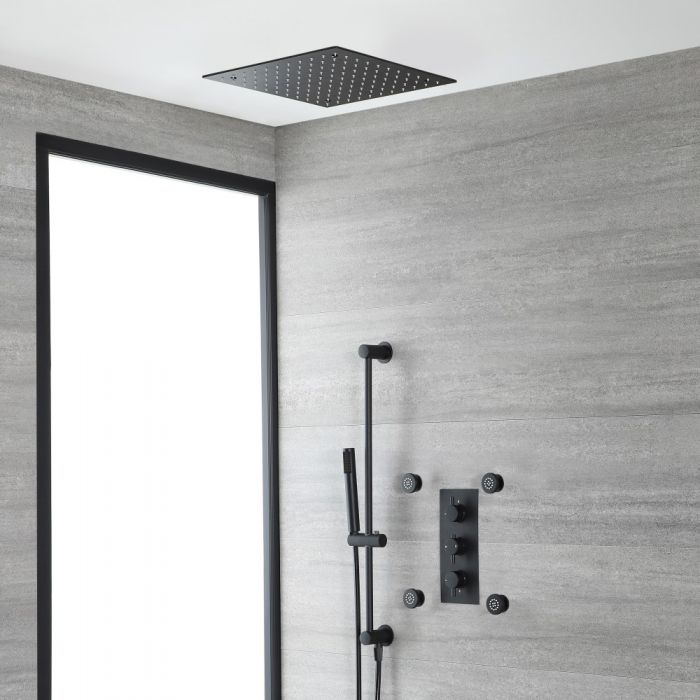 Milano Nero - Black Thermostatic Shower with Recessed Shower Head, Body Jets and Riser Rail with Hand Shower (3 Outlet)