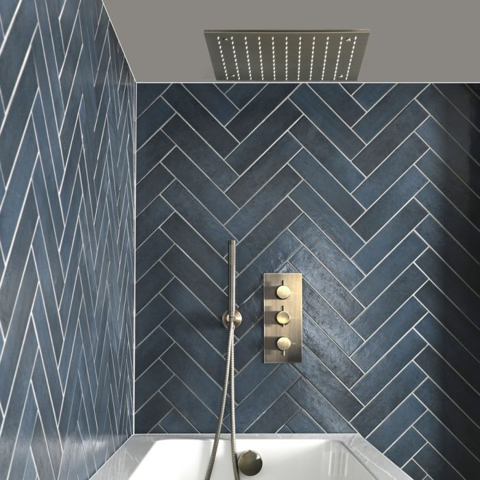 Milano Clarus - Thermostatic Shower with Diverter, Recessed Shower Head, Hand Shower and Overflow Bath Filler - Brushed Gold