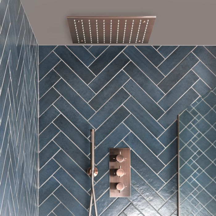 Milano Amara - Thermostatic Shower with Recessed Shower Head and Hand Shower - Brushed Copper