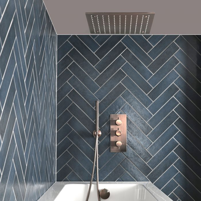 Milano Amara - Thermostatic Shower with Diverter, Recessed Shower Head, Hand Shower and Overflow Bath Filler - Brushed Copper