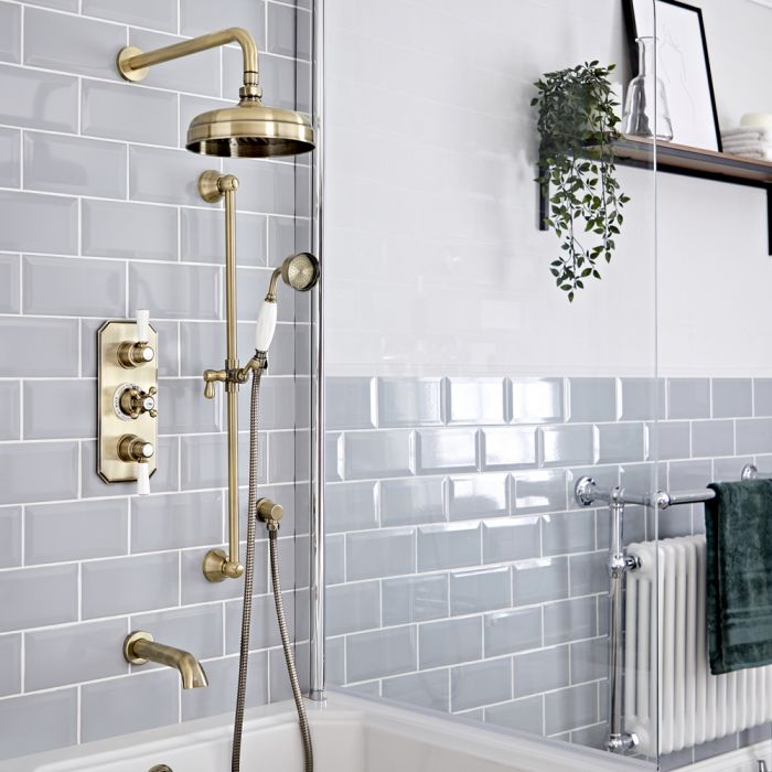 Milano Elizabeth - Brushed Gold Traditional Thermostatic Shower with Diverter, Shower Head, Bath Spout and Riser Rail (3 Outlet)