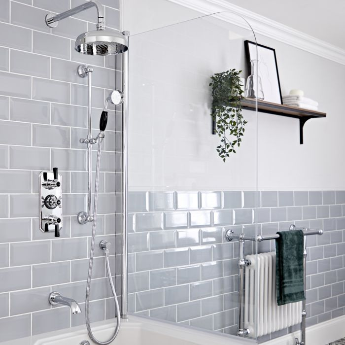 Milano Elizabeth - Chrome and Black Traditional Thermostatic Shower with Diverter, Shower Head, Bath Spout and Riser Rail (3 Outlet)
