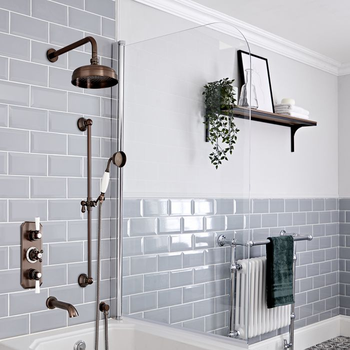 Milano Elizabeth - Oil Rubbed Bronze Traditional Thermostatic Shower with Diverter, Shower Head, Bath Spout and Riser Rail (3 Outlet)