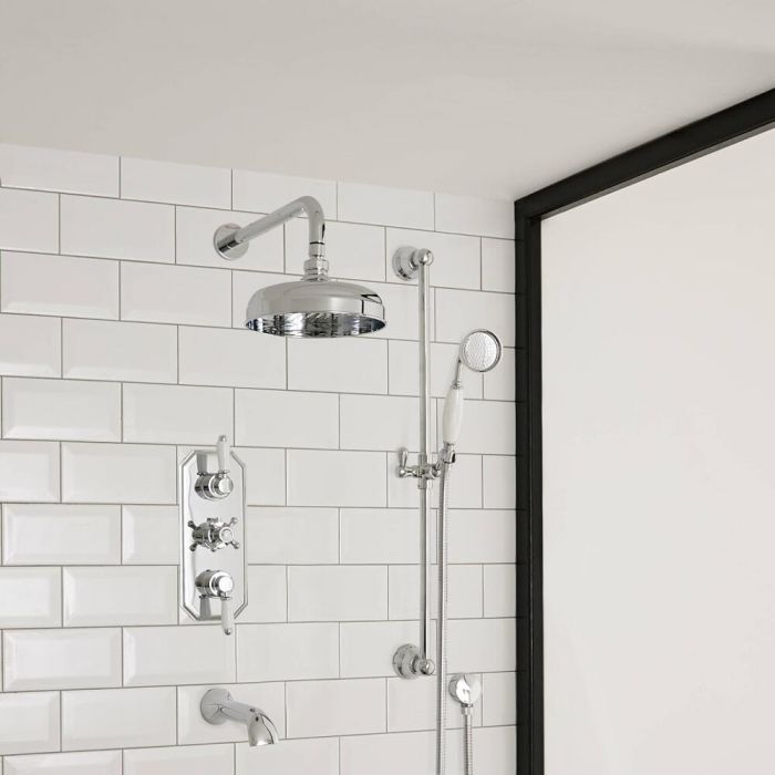 Milano Elizabeth - Chrome and White Traditional Thermostatic Shower with Diverter, Shower Head, Hand Shower, Bath Spout and Riser Rail (3 Outlet)