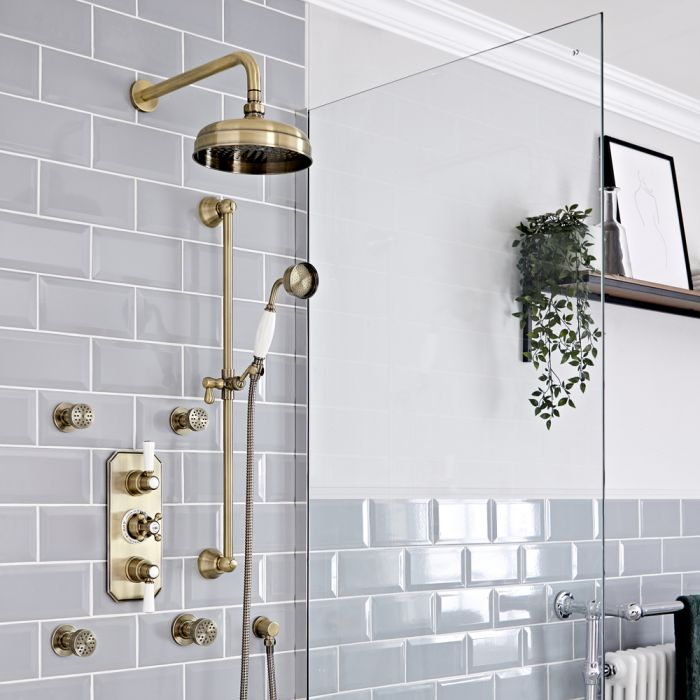 Milano Elizabeth - Brushed Gold Traditional Thermostatic Shower with Diverter, Shower Head, Body Jets and Riser Rail (3 Outlet)