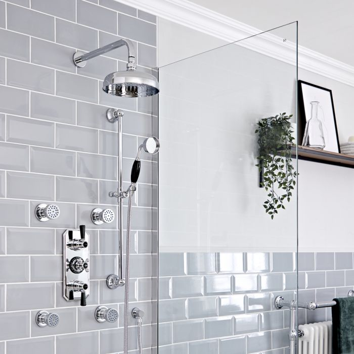 Milano Elizabeth - Chrome and Black Traditional Thermostatic Shower with Diverter, Shower Head, Body Jets and Riser Rail (3 Outlet)