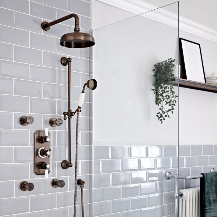 Milano Elizabeth - Oil Rubbed Bronze Traditional Thermostatic Shower with Diverter, Shower Head, Body Jets and Riser Rail (3 Outlet)