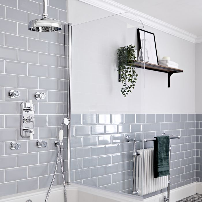 Milano Elizabeth - Chrome and White Traditional Thermostatic Shower with Diverter, Ceiling Mounted Shower Head, Hand Shower and Body Jets (3 Outlet)