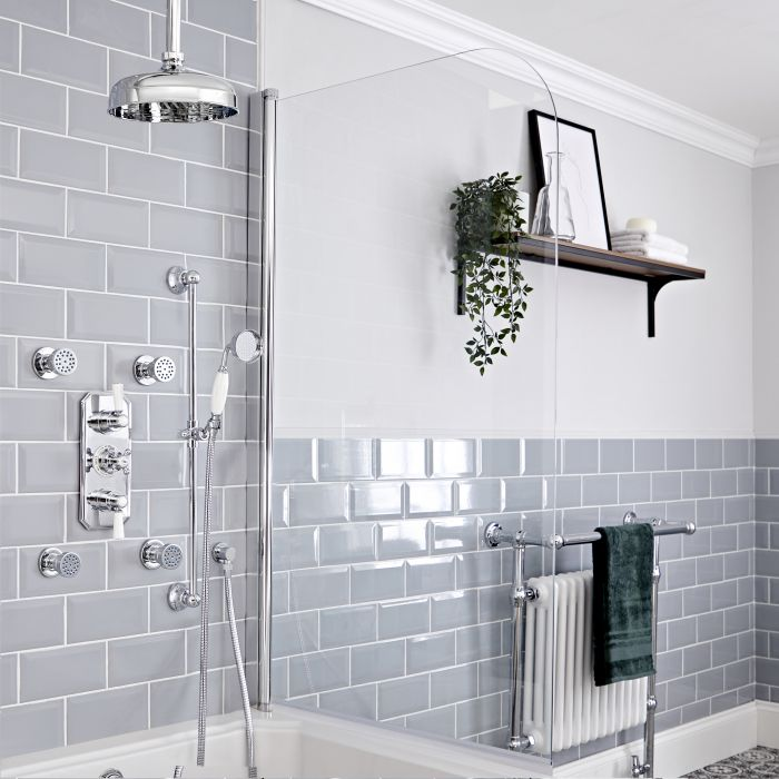 Milano Elizabeth - Chrome and White Traditional Thermostatic Shower with Diverter, Ceiling Mounted Shower Head, Riser Rail and Body Jets (3 Outlet)