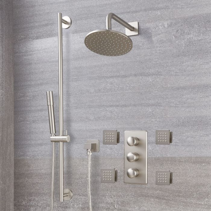 Milano Ashurst - Brushed Nickel Thermostatic Shower with Diverter, Shower Head, Hand Shower, Body Jets and Riser Rail (3 Outlet)