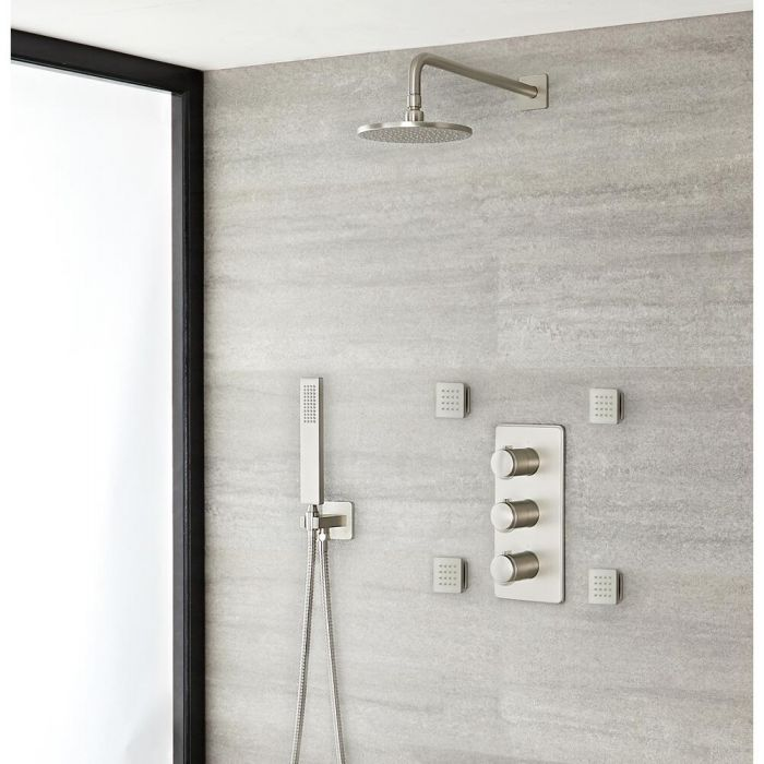 Milano Ashurst - Brushed Nickel Thermostatic Shower with Diverter, Shower Head, Hand Shower and Body Jets (3 Outlet)