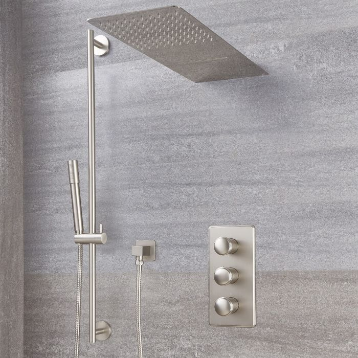 Milano Ashurst - Brushed Nickel Thermostatic Shower with Diverter, Waterblade Shower Head, Hand Shower and Riser Rail (3 Outlet)