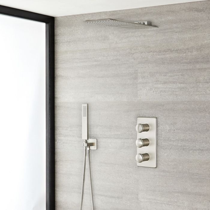 Milano Ashurst - Brushed Nickel Thermostatic Shower with Diverter, Waterblade Shower Head and Hand Shower (3 Outlet)