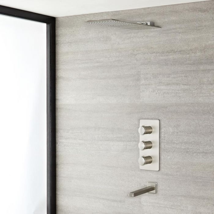 Milano Ashurst - Triple Diverter Thermostatic Shower Valve, Two Outlet Head and Spout - Brushed Nickel