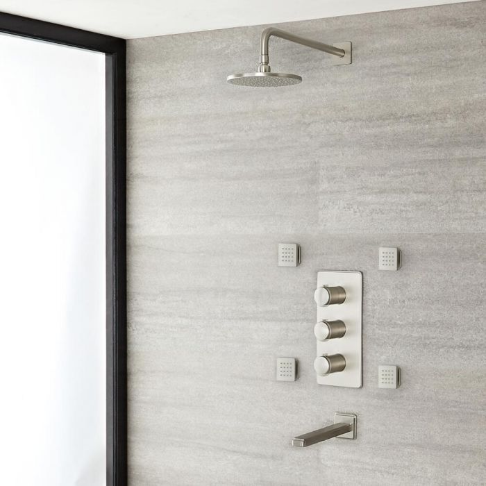 Milano Ashurst - Triple Diverter Thermostatic Shower Valve, 188mm Round Head, Spout and Body Jets - Brushed Nickel
