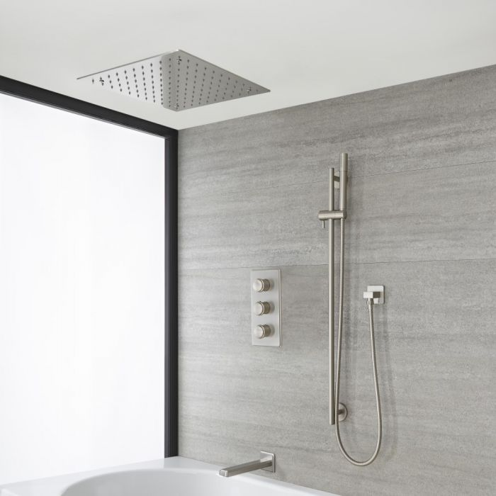 Milano Ashurst - Brushed Nickel Thermostatic Shower with Diverter, Recessed Shower Head, Hand Shower, Riser Rail and Bath Spout (3 Outlet)