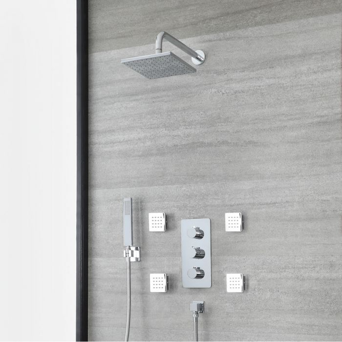 Milano Arcadia - Chrome Thermostatic Shower with Diverter, Square Shower Head, Hand Shower and Body Jets (3 Outlet)