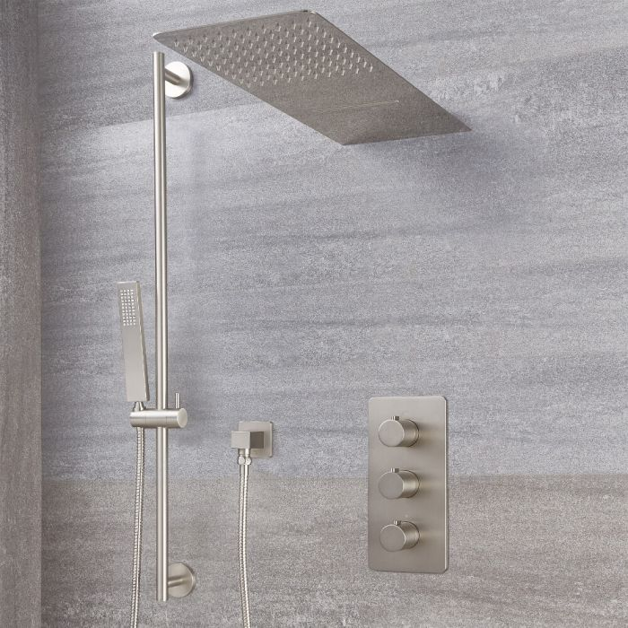 Milano Hunston - Brushed Nickel Thermostatic Shower with Diverter, Waterblade Shower Head, Hand Shower and Riser Rail (3 Outlet)