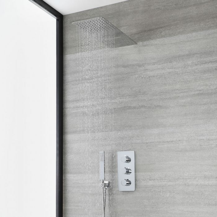 Milano Arcadia - Chrome Thermostatic Shower with Diverter, Waterblade Shower Head and Hand Shower (3 Outlet)