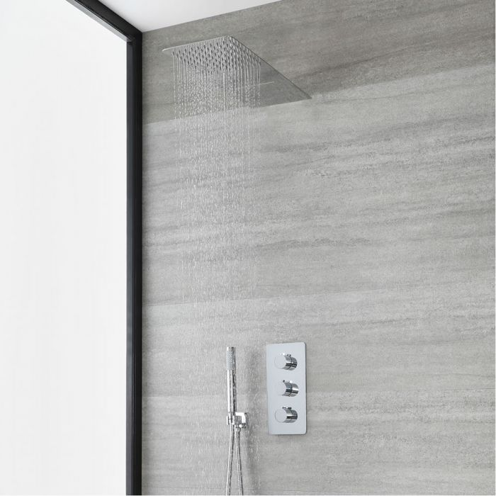 Milano Arcadia - Chrome Thermostatic Shower with Diverter, Waterblade Shower Head and Round Hand Shower (3 Outlet)