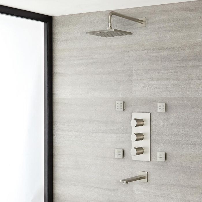 Milano Hunston - Triple Diverter Thermostatic Shower Valve, Square Head, Spout and Body Jets - Brushed Nickel