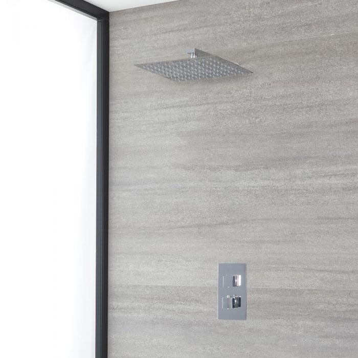 Milano Arvo - Chrome Thermostatic Shower with Wall Mounted Shower Head (1 Outlet)
