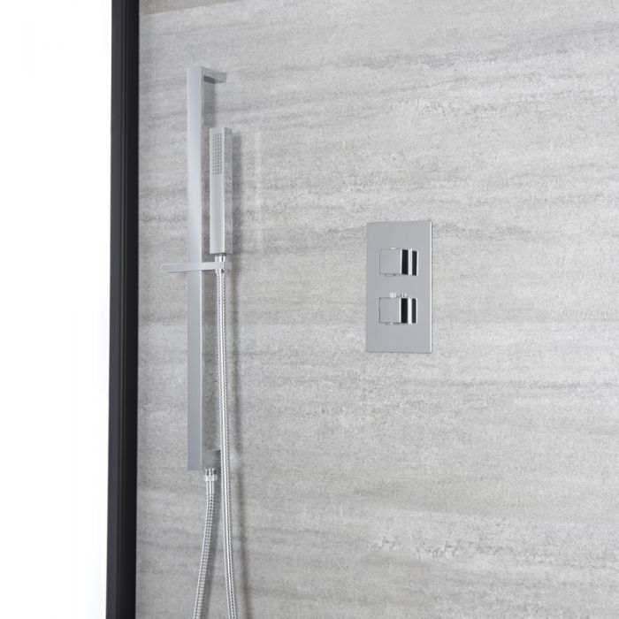 Milano Arvo - Chrome Thermostatic Shower with Square Hand Shower and Riser Rail (1 Outlet)
