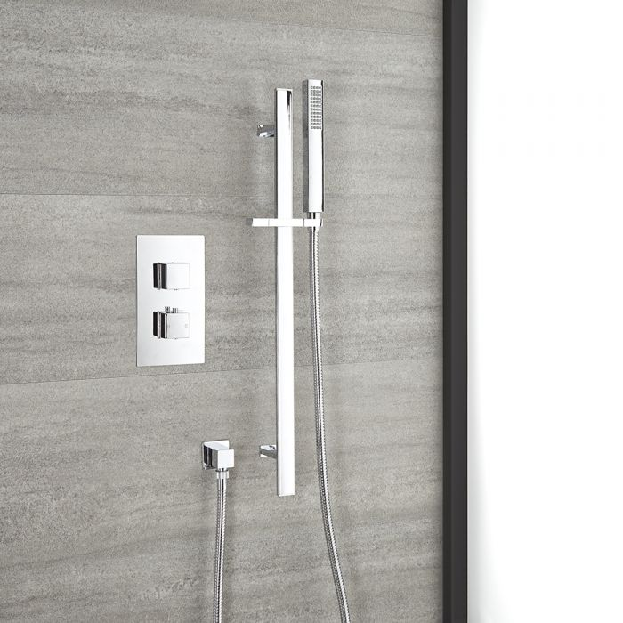 Milano Arvo - Chrome Thermostatic Shower with Riser Rail and Hand Shower (1 Outlet)