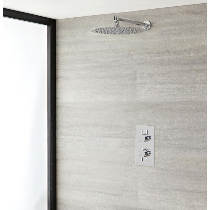 Milano Mirage - Chrome Thermostatic Shower with Wall Mounted Shower Head (1 Outlet)