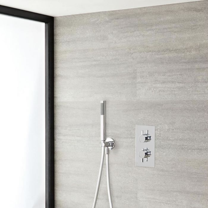 Milano Mirage - Chrome Thermostatic Shower with Pencil Hand Shower Kit (1 Outlet)