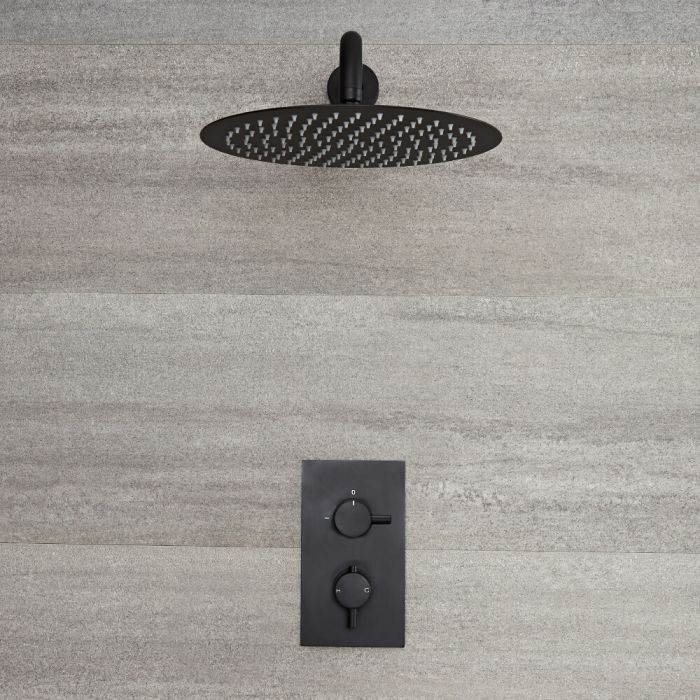 Milano Nero - Black Thermostatic Shower with Round Shower Head (1 Outlet)