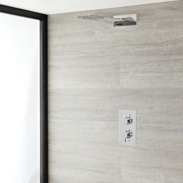 Milano Mirage - Chrome Thermostatic Shower with Slim Shower Head (1 Outlet)