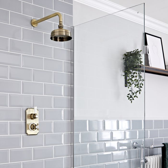 Milano Elizabeth - Brushed Gold Traditional Thermostatic Shower with Wall Mounted Shower Head (1 Outlet)