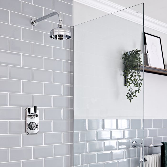 Milano Elizabeth - Chrome and Black Traditional Thermostatic Shower with Wall Mounted Round Shower Head (1 Outlet)