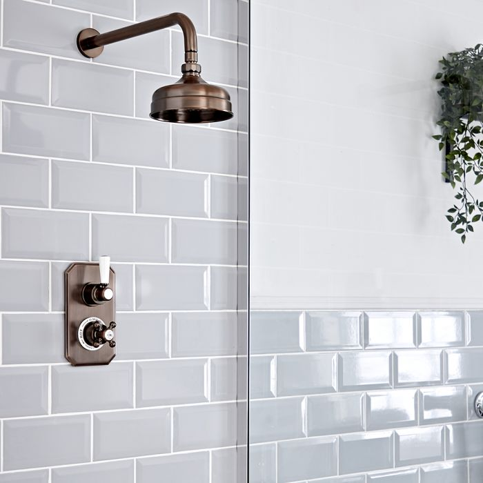 Milano Elizabeth - Oil Rubbed Bronze Traditional Thermostatic Shower with Wall Mounted Shower Head (1 Outlet)