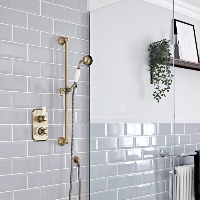 Milano Elizabeth - Brushed Gold Traditional Thermostatic Shower with Round Hand Shower and Riser Rail (1 Outlet)