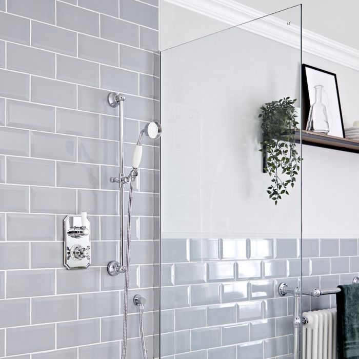 Milano Elizabeth - Chrome and White Traditional Thermostatic Shower with Round Hand Shower and Riser Rail (1 Outlet)